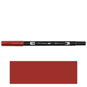 トンボ鉛筆 デュアルブラッシュペン AB−T 837 ABT 水彩 スケッチ 画材 カリグラフィ イラスト ツインタイプ(ワインレッド)
