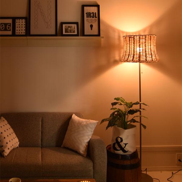 フロアスタンドライト rattan floorlamp YFL-526 スタンドライト フロアスタンド スタンドライト ラタン 籐 北欧 南欧 リビング用 居間用 寝室 ランプ ベッドサイド 塩系 カントリー ナチュラル 西海岸 間接照明 照明 おしゃれ