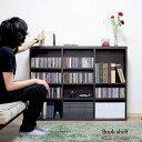 [本日、ポイント10倍]【代引き可】120cm ブックシェルフ 木製 CD収納 DVD収納 ラック ブラウン コミック収納 本棚