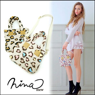 2WAY where is small for ニーナミュウ (nina mew) slight outing and shopping is mast ☆ leopard nylon mini-BAG Lady's animal pattern attending school tote bag shoulder bag (2014 new works in the spring and summer) mail order