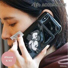 『クーポン対象』【X/XS対応】アコモデ Accommode 通販 スチームボートウィリー パテント iPhone X/XS ケース iPhone XS X テン ディズニー iphonexs カバー ミッキー 蒸気船ウィリー ミラー 鏡 カード収納 ICカード かわいい コラボ Disney エナメル d-gr243