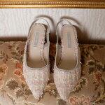 セルフォードCELFORDツイードパンプスパンプスレディースシューズ靴ポインテッドトゥツイードローヒールバックストラップフォーマルcwgs181535