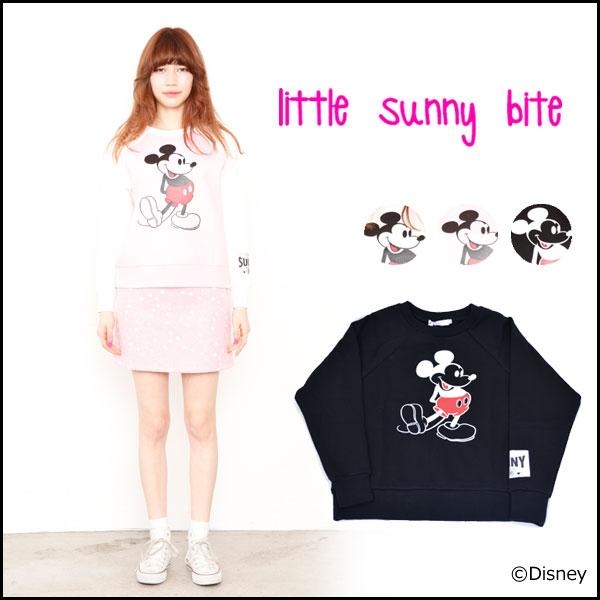 《ポイント10倍★》【通13824円→70%OFF】リトルサニーバイト little sunny bite mickey mouse sweater ミッキーマウスセーター スウェット ラグラン レディース 長袖 Disney ディズニー コラボ LSB-LTOP-031D