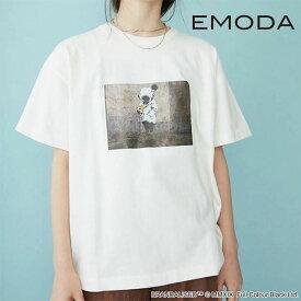 《ポイント10倍》【SALE20%OFF】エモダ EMODA 通販 OVER Tシャツ Banksy Deep Sea Diver レディース トップス Tシャツ カットソー 半袖 クルーネック オーバーサイズ Banksy バンクシー コラボ Full Colour Black グラフィック カジュアル 041932771701 メール便