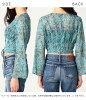 EVRIS エヴリス end of April reservation race up blouse blouse Lady's long sleeves race v neck tops short length slit floral design 371820403901