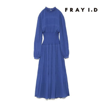 Ai Frey D FRAY I.D mail order middle of March reservation waist rib pleats dress Lady's dress long long Japanese paper sleeve long dress high neck rib pleats plain fabric invite party FRAY ID fwfo191084