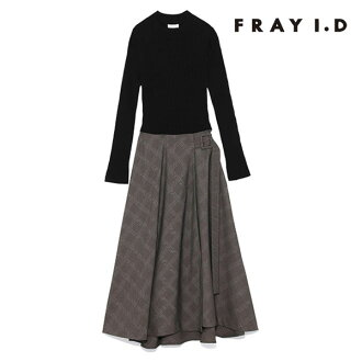 Ai Frey D FRAY I.D mail order wrap skirt combination dress dress combination dress high neck wrap skirt checked pattern rib docking long sleeves daily FRAY ID fwno185075