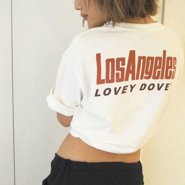 ジェイダ GYDA 通販 7月中旬予約 LOVEY DOVEY Tシャツ レディース Tシャツ カットソー トップス オーバーサイズ バックプリント パームツリー 071842713201