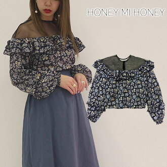 Reservation shirt blouse long sleeves are transparent in the honey me honey HONEY MI HONEY flower-print blouse flower print blouse beginning of March; floral design flower frill Lady's spring 18S-VG-12