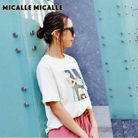 《ポイント10倍》Micalle Micalle ミカーレミカーレ PHOEBE レディース トップス Tシャツ 半袖 半袖T クルーネック プリント イラスト デザイン グレー カーキ ベージュ m903-201t セール除外品