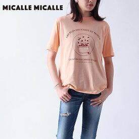《ポイント10倍》Micalle Micalle ミカーレミカーレ ACACIA レディース トップス Tシャツ 半袖 半袖T クルーネック さくらんぼ チェリー プリント イラスト デザイン ホワイト ブルー カジュアル m903-256t セール除外品