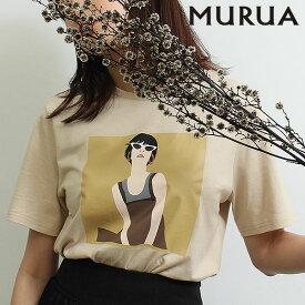《ポイント10倍》ムルーア MURUA 通販 GirlミニTシャツ レディース トップス Tシャツ 半袖Tee ミニT プリントtシャツ スリット カジュアル ホワイト ブラック ベージュ 011932700701 メール便 セール除外品