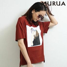 《ポイント10倍》ムルーア MURUA 通販 GirlルーズTシャツ レディース トップス Tシャツ 半袖Tee ビッグtシャツ プリントtシャツ スリット ゆったり ルーズ カジュアル ホワイト ブラウン 011932700801 メール便 セール除外品