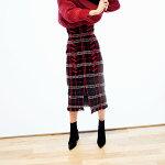 スナイデルSNIDEL通販12月上旬予約ハイウエストチェックスカートレディースボトムスカートひざ丈チェックハイウエストスリットフリンジレースアップIラインミディアム丈swfs185101
