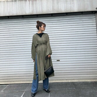 Ann grid ungrid mail order end of October reservation side slit long blouse Lady's tops blouse Longus Ritt V neck long sleeves lei yard plain fabric Shin pull casual clothes generous black khaki 111850448901
