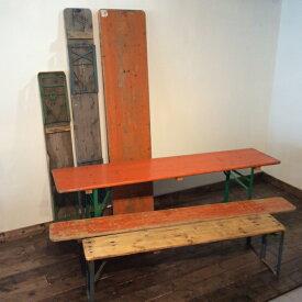 【ダブルデイ/アンティーク/家具】 Munchen Folding Table【A】(2802-001-a) ミュンヘン フォールディング テーブル(ダイニング/ガーデンテーブル/ビンテージ/作業台/折りたたみ/ナチュラル/ジャンク/カフェ/ドイツ)