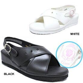 ナースサンダル ディズニー 白 黒 ホワイト ブラック バックストラップ アナ雪 エルサ キャラクター シンプル 無地 靴 婦人 レディース オフィス disney 6708
