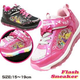93029ce810109  光る靴 プリンセス スニーカー キッズ ディズニー DISNEY disney 子ども 子供 靴 ピンク 黒 ブラック