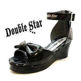 キッズ サンダル 子供 靴 黒 ブラック ヒール リボン ダブルスター 4850