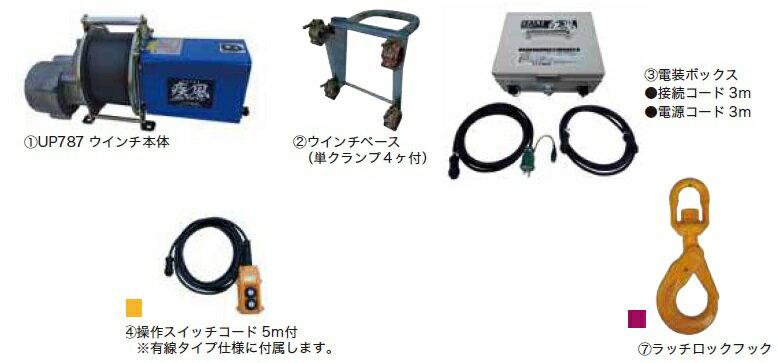 【代引不可】 ユニパー 疾風(はやて)ウインチ UP787Y-80L (有線タイプ) 【メーカー直送品】