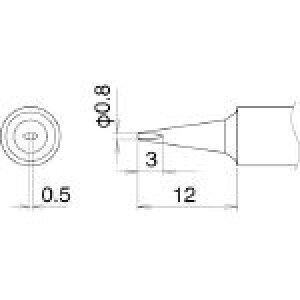 白光 こて先 0.8D型 T22-D08 (400-4141) 《ステーション型はんだこて》