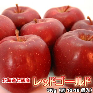 りんご 北海道産 蜜入 レッドゴールド リンゴ 3Kg(約12-18個入) 送料無料※沖縄は送料別途加算