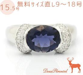 【中古】ポンテヴェキオ アイオライト ダイヤ 18金 リング 指輪 15.5号 K18WG I:1.87 D:0.30 ホワイトゴールド レディース