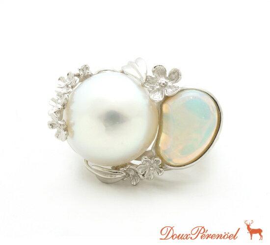 【中古】パール オパール リング 指輪 Pt900 15号 真珠【プラチナ】【レディース】【女性】