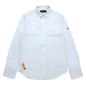 DOWBL/ダブル/Ice Blue Flower Embroidered Shirts【全1色】