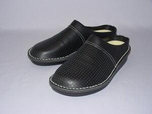BL406(主に女性用)えこる特製(牛革)ハーブレザーで作ったJIS規格準拠の足の骨格に合わせたフォルムの歯科医師向け院内用準安全靴。着脱が楽なつっかけサンダルタイプ。