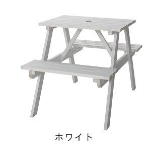 テーブル&ベンチ 白 W75 アウトドア 木製 ホワイト お家キャンプ キャンプギア 新生活
