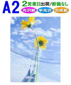 【A2】ポスター印刷〈フォト光沢紙・半光沢紙・合成紙〉2営業日目出荷【化粧断裁しない】