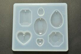 ビーズクラブ レジン型 シリコンモールド ソフトモールド ハート&宝石 1枚 ハンドメイド DIY