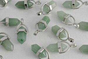 ビーズクラブ グリーンアベンチュリン ペンダントトップ小 銀 金具付 20mm 1個 パワーストーン 天然石