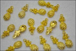 ビーズクラブ チャーム ハワイアン パイナップル ゴールド 17mm 10個セット