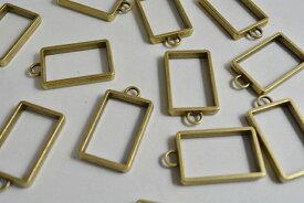 アクセサリーパーツ レジン枠 長方形 シンプル 金古美 空枠 フレーム 34mm 1個