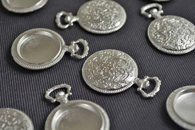 アクセサリーパーツ レジン ミール皿 丸デザイン 古代銀 フレーム 38mm 1個