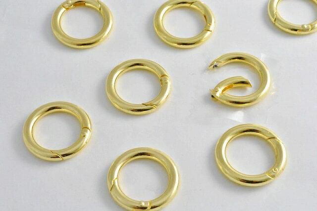 アクセサリーパーツ カラビナ 丸 ゴールド 5個 25mm