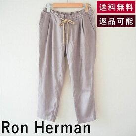 【中古】Ron Herman ロンハーマン パンツ スエード調 ウエストゴム タック  RHC カジュアル カリフォルニア アーバン 西海岸 リラックス ナチュラル 30代 40代 およばれ 大人可愛い レディース ボトムス スラックス 活動的 カッコイイ 着回し コーデ PANTS ズボン