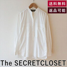 【中古】THE SECRET CLOSET ザシークレットクロゼット スタンドカラーシャツ プルオーバー オックスフォード 白 ホワイト|トップス キッチリ フォーマル カジュアル オフィス 会社 かわいい カッコイイ すっきり