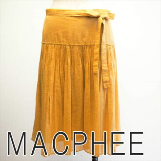 MACPHEE McAfee wrap skirt waist ribbon thin translucency change pleats yellow somberness yellow brand old clothes DB in the spring and summer