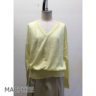 << 10%off >> MACPHEE McAfee linen knit yellow spring yellow brand old clothes DB