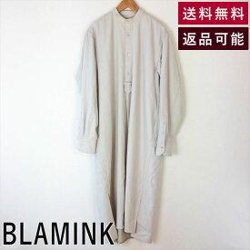 【中古】ブラミンク BLAMINK ウールフラノ スタンドロングスリーブ ワンピース F W FLN STD LSL 2018AW ベージュ サイズ36 サイズS D0910S004-D1021