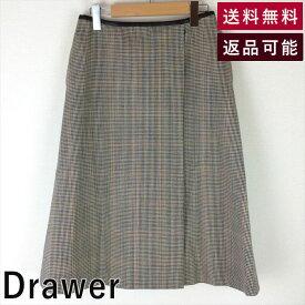 【中古】ドゥロワー Drawer グレンチェックラップスカート ひざ下 フレア サイズ40 D1027M006-D1119