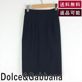 【中古】ドルチェアンドガッバーナ Dolce&Gabbana 黒タイトスカート ウール 無地 サイズ36 D1218U006-E0115