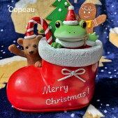 新作コポークリスマス靴下とカエルとクマガーデンサイズcopeauコポーシリーズコポタロウコポたんかえるカエル雑貨置き物オブジェフィギュア置物小物ガーデンミニチュアDRAWERPLUSドロワープラスどろわーぷらすダイカイ【72469】