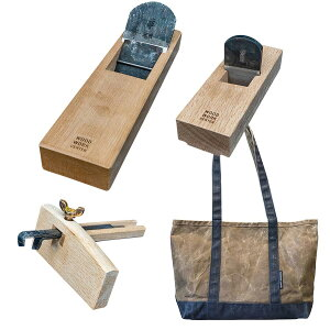【10%OFF】WOODWORK CENTERロゴ入り・平鉋 & 台直し鉋 & 鎌ケヒキ & トートバッグ セット
