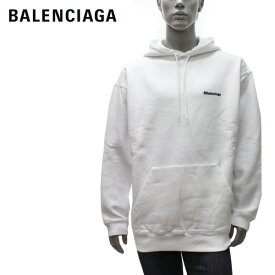 バレンシアガ BALENCIAGA ロゴ刺しゅう オーバーサイズ プルオーバーパーカー【ホワイト】570811 TJV85 9040/【2021SS】m-tops