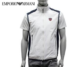 【2019SS】エンポリオ・アルマーニ EA7 ラバーワッペン付き ナイロンベスト【ホワイト】3GPQ01 PN27Z 1100/EMPORIO ARMANI/m-tops