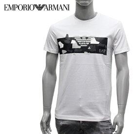 【2019SS】エンポリオ・アルマーニ EA7 モノトーン幾何学カモフラ 半袖Tシャツ【ホワイト】3GPT09 PJT7Z 1100/EMPORIO ARMANI/m-tops